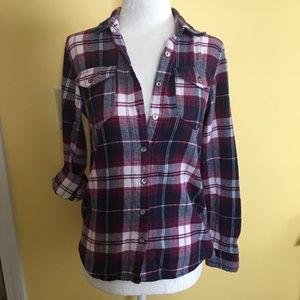 Purple and Navy Plaid Button Down Flannel w/ Lace